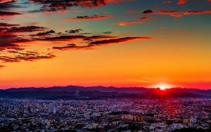 sunset tirana