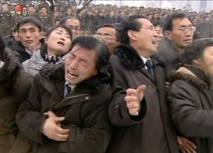"This tv grab taken from North Korean TV on December 28, 2011 shows people reacting during Kim Jong-Il's funeral at Kumsusan Memorial Palace in Pyongyang.  North Korean state television began broadcasting the funeral of late leader Kim Jong-Il December 28, with footage of tens of thousands of troops bowing their heads in the snow outside a memorial palace. EDITORS NOTE --- RESTRICTED TO EDITORIAL USE - MANDATORY CREDIT "" AFP PHOTO / NORTH KOREAN TV"" - NO MARKETING NO ADVERTISING CAMPAIGNS - DISTRIBUTED AS A SERVICE TO CLIENTS  AFP PHOTO/NORTH KOREAN TV NKOREA-POLITICS-FUNERAL"