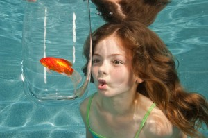 swimming underwater in swimming pool looking at goldfish in glass bowl