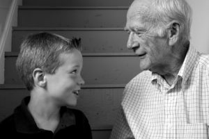 Seven year-old boy with grandfather.